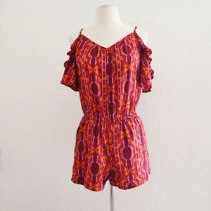 Magenta Tribal Geo Print Cold Shoulder Romper